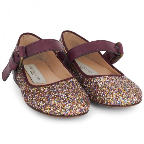 Stella McCartney Kids, Red Glitter Mary Jane Shoes