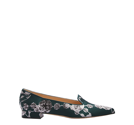 Bella slipper, Vassilisa print  Green Crepe Satin
