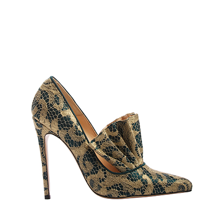 Daphne shoes, Green Crepe Satin