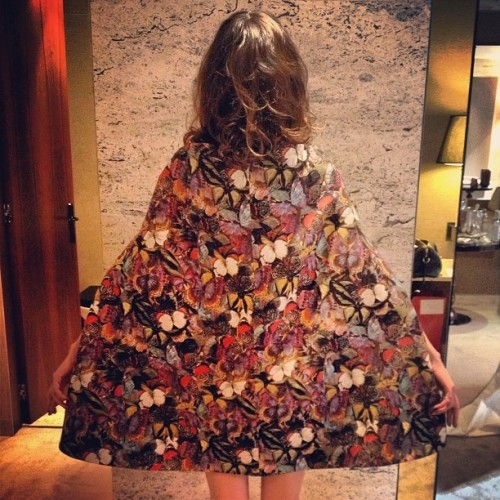 regram from Alexa Chung  in a Valentino capedress