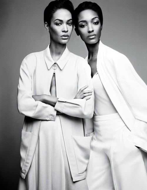 "Joan Smalls and Jourdan Dunn ""Spare Me"" for W Magazine by Patrick Demarchellier Februray 2014"