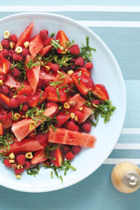 Watermelon, Hazelnut, Strawberry and Mint Salad