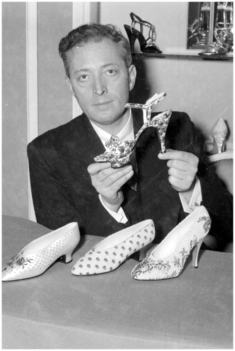 January 29, 1954 Roger Vivier with shoes designed for Dior