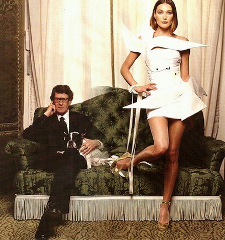 Yves Saint Laurent with Carla Bruni in wedding dove dress, tribute to Matisse, 1998