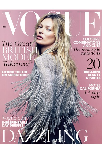 Kate Moss on British Vogue Cover, May 2014, wearing Topshop
