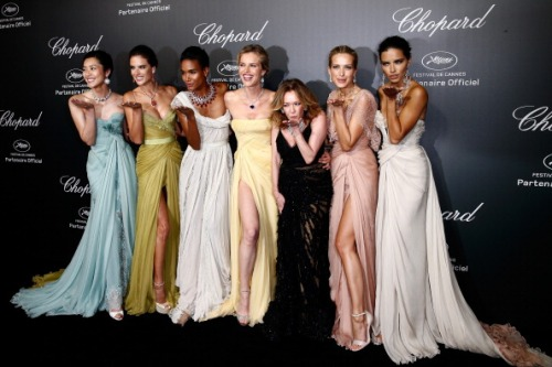 Liu Wen. Alessandra Ambrosio, Arlenis Sosa, Eva Herzigova, Caroline Scheufele, Petra Nemcova and Adriana Lima arrive to the Chopard Backstage Dinner and Afterparty at the Cannes Mandelieu Aerodrome on May 19th 2014