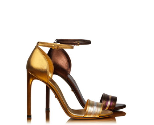 Gucci Metallic Gold and Bronze Leather Sandals S/S 2014