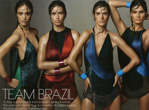 Raquel Zimmerman, Adriana Lima, Alessandra Ambrosio, Isabeli Fontana for US Vogue June 2014