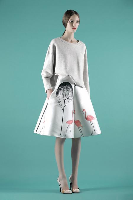Vika Gazinskaya printed satin culottes S/S 2014