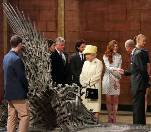 The Queen and The Duke of Edinburgh meet cast and crew of TV series Game of Thrones in Belfast, 24 June 2014.