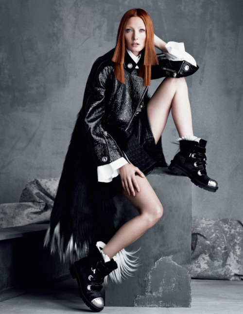 Maggie Rizer in Alexander McQueen boots Fall 2014