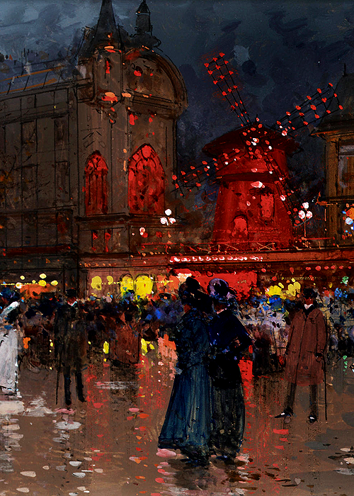 The Moulin Rouge Evening , Eugène Galien-Laloue, 1906