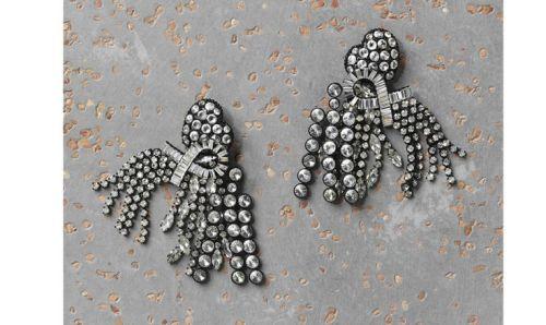 Celine Larges Rivières, black painted aliminium and rhinestone earring