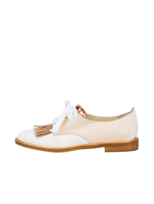 Oscar De La Renta white and bronze leather Adelaide brogues