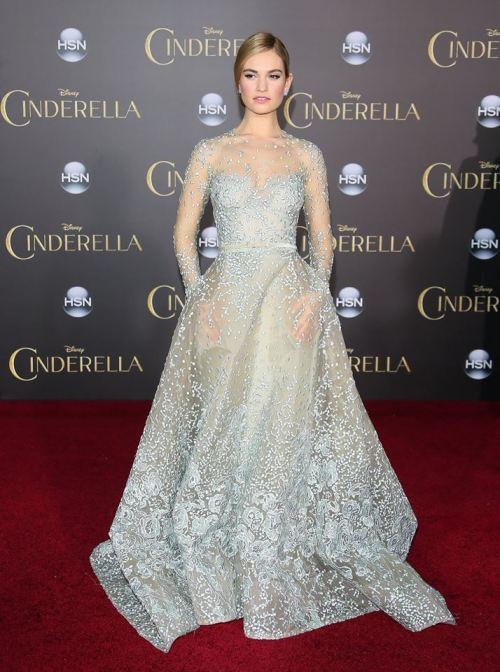 Lily James in Elie Saab Haute Couture to the premiere of Cinderella in Hollywood