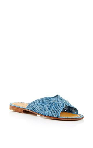 Turquoise Salon Slip On sandals by Carrie Forbes